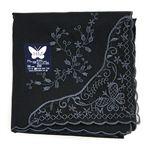ハナエモリ(HANAE MORI)エンブロイダリーネット刺繍ハンカチ(黒)