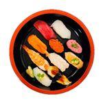 【出前のお寿司予約 桶盛】【土・日・祝日配送限定】本まぐろと季節の鯛入りお奨め握り寿司 10貫【わさびなし】