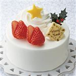 【クリスマス予約】【12月22日、23日、24日、25日の配送になります】 苺のプチデコレーションケーキ※苺2個別添え 直径約11cm×高さ約5cm ローソク付き 【M0007】